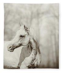 Close Up Portrait Of Lone White Horse Fleece Blanket