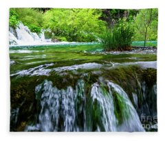 Close Up Waterfalls - Plitvice Lakes National Park, Croatia Fleece Blanket