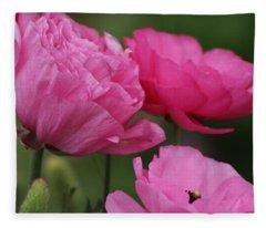 Closeup Deep Peony Pink Ranunculus Fleece Blanket