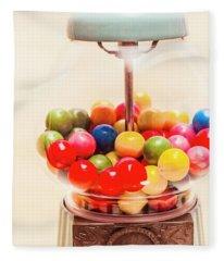 Closeup Of Colorful Gumballs In Candy Dispenser Fleece Blanket