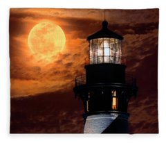 Closeup Of Full Moon Rising Over St Augustine Lighthouse Fleece Blanket