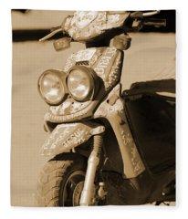 Closeup Of Jesus Scooter In Sepia Fleece Blanket