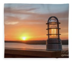 Closeup Of Light With Sunset In The Background Fleece Blanket