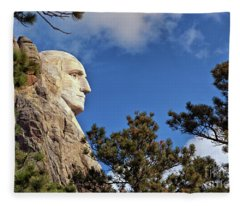 Closeup Profile Of George Washington At Mount Rushmore National Memorial In South Dakota Fleece Blanket