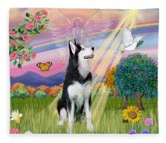 Cloudangel #1 - Siberian Husky Fleece Blanket