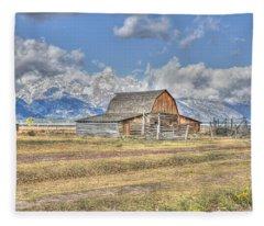 Clouds And Barn Fleece Blanket