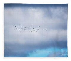 Clouds And Ducks Fleece Blanket