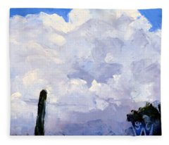 Clouds Building Fleece Blanket