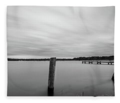 Fleece Blanket featuring the photograph Clouds Moving Over Lake Long Exposure by Todd Aaron