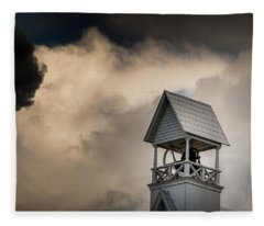 Clouds Over Bell Tower Fleece Blanket