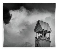 Clouds Over Bell Tower In Black And White Fleece Blanket