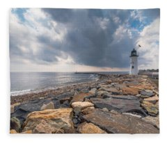 Clouds Over Old Scituate Light Fleece Blanket