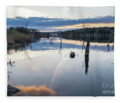 Clouds Reflecting On Large Lake During Sunset Fleece Blanket