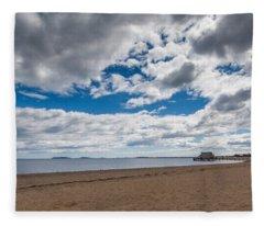 Cloudy Beach Day Fleece Blanket