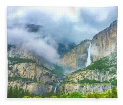 Cloudy Day At Yosemite Falls Digital Watercolor Fleece Blanket