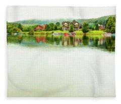 Cloudy Day On The Lake Fleece Blanket