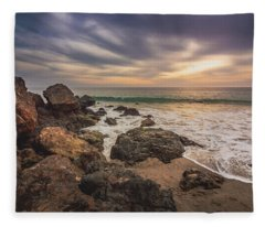 Cloudy Point Dume Sunset Fleece Blanket