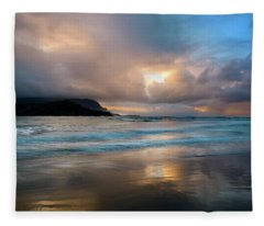 Cloudy Sunset At Hanalei Bay Fleece Blanket