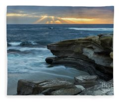 Cloudy Sunset At La Jolla Shores Beach Fleece Blanket
