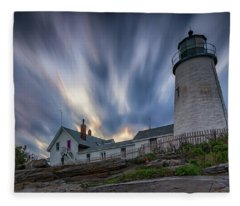 Cloudy Sunset At Pemaquid Point Fleece Blanket