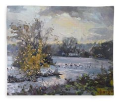 Cloudy Sunset In Niagara Falls River  Fleece Blanket