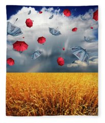 Cloudy With A Chance Of Umbrellas Fleece Blanket