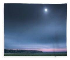 Clover Field Under Moon Fleece Blanket