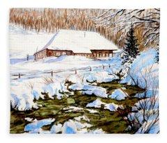 Clubhouse In Winter Fleece Blanket