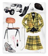 Clueless Movie Collage 90's Fashion Fleece Blanket