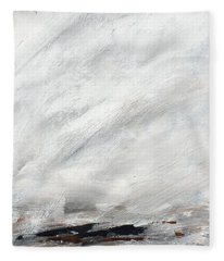 Coast #14 Ocean Landscape Original Fine Art Acrylic On Canvas Fleece Blanket