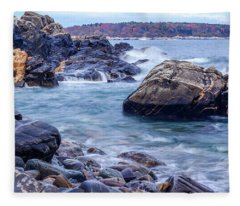 Coast Of Maine In Autumn Fleece Blanket