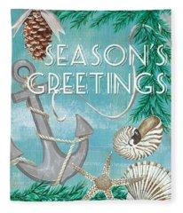 Coastal Christmas Card Fleece Blanket