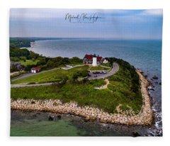 Coastal Nobska Point Lighthouse Fleece Blanket