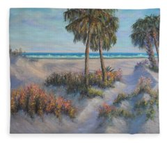 Coastal Painting Beach Path Sand Dunes  Fleece Blanket