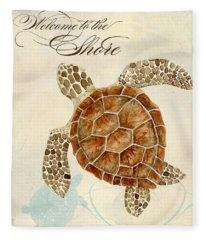 Coastal Waterways - Green Sea Turtle Fleece Blanket