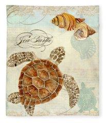 Coastal Waterways - Green Sea Turtle Rectangle 2 Fleece Blanket