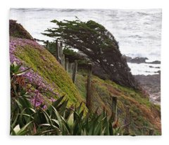 Coastal Windblown Trees Fleece Blanket