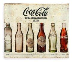 Coca-cola Bottle Evolution Vintage Sign Fleece Blanket