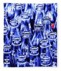 Coca-cola Coke Bottles - Return For Refund - Square - Painterly - Blue Fleece Blanket
