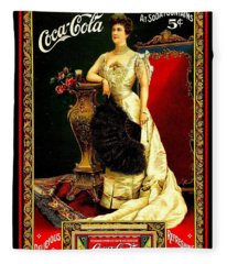 Coca Cola Edwardian Antique Soda Fountain Poster From 1904 Fleece Blanket