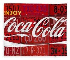 Coca Cola Enjoy Soft Drink Soda Pop Beverage Vintage Logo Recycled License Plate Art Fleece Blanket