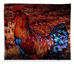 Cock Rooster Fleece Blanket