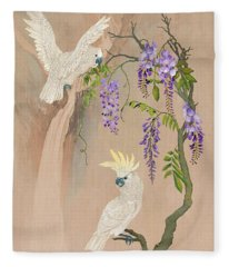 Cockatoos And Wisteria Fleece Blanket