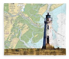 Cockspur On Navigation Chart Fleece Blanket