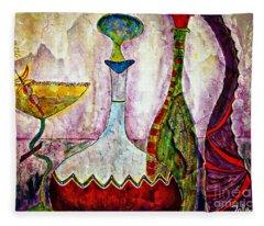 Cocktail And Wine Fleece Blanket