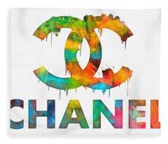 Coco Chanel Paint Splatter Color Fleece Blanket