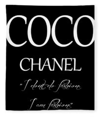 Coco Chanel Quote Fleece Blanket