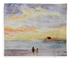 Cocoa Beach Sunrise Fleece Blanket