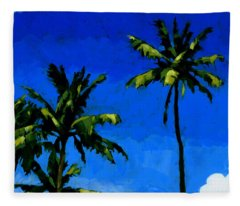 Coconut Palms 5 Fleece Blanket