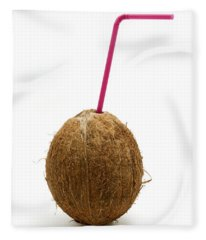 Coconut With A Straw Fleece Blanket